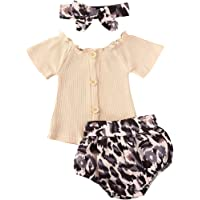 3Pcs Toddler Baby Girl Fall Outfit Long Sleeve Knitted Ribbed Top Leopard Pants Headband Infant Winter Clothing Set