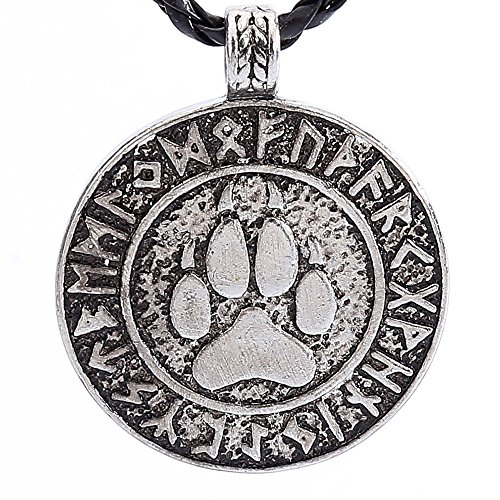 LiLiMeng Nordic Vikings Print Bear Amulet Necklace Pendant The Norse Rune Talisman Bear