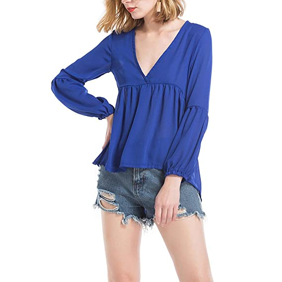 Tops Para Mujer,RETUROM Moda Mujer Verano Gasa de Manga Larga Camiseta Sólida Tops Blusa