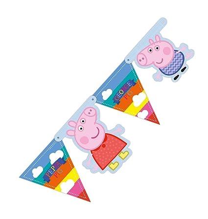 FESTONE BANDIERINE PEPPA PIG ADDOBBI COMPLEANNO BAMBINA FESTA
