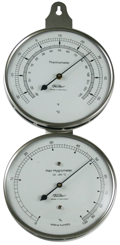 Ambient Weather 118-01 Fischer Instruments Laboratory Grade Indoor/Outdoor Thermometer with Human Hair Hygrometer by Ambient Weather
