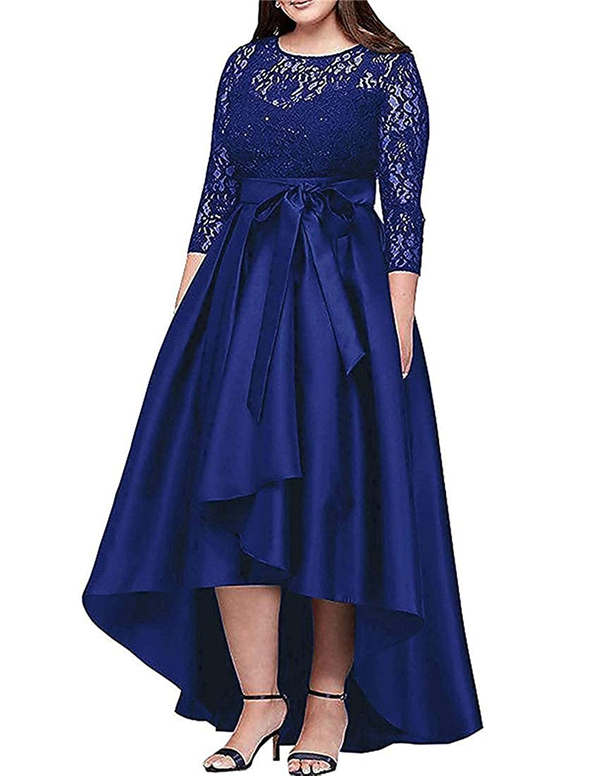 Royal Stylefun Women's Lace Long Sleeves Hilo Mother of The Bride Dresses Formal Gowns with Sash XIN041
