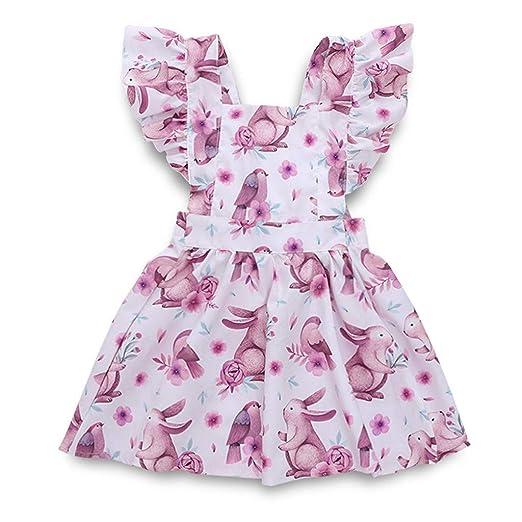 1d559b81610 Amazon.com  MILIMIEYIK Baby Set Sunny Fashion Girls Dress Rose Flower  Double Bow Tie Party Sundress Toddler Kids Print Casual Princess  Clothing
