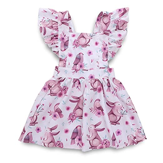 d8e43af0b95 Amazon.com  MILIMIEYIK Baby Set Sunny Fashion Girls Dress Rose Flower  Double Bow Tie Party Sundress Toddler Kids Print Casual Princess  Clothing
