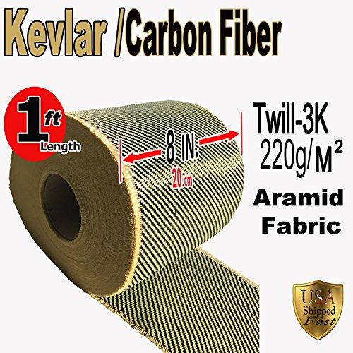 Kevlar Fabric - (YLW-Blk 1 ft x 8 in) 2x2 Twill WEAVE-3K/200g
