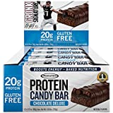 Cheap Gronk Protein Candy Bar by MuscleTech, Whey Protein Bar with Energy, 20g Protein, Gluten Free, Chocolate Deluxe, 2.12oz – 12 pack