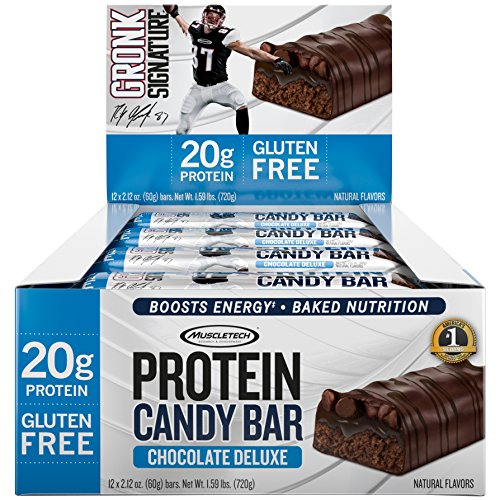 Gronk Protein Candy Bar by MuscleTech, Whey Protein Bar with Energy, 20g Protein, Gluten Free, Chocolate Deluxe, 2.12oz – 12 pack -