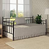 Buff Home Metal Daybed Frame Twin Size Steel Slats Platform Strong Support Base Box Spring Mattress Replacement With Headboard For Living Guest Room Black