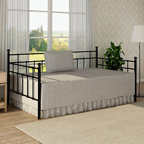 Metal Daybed Frame Twin Size Steel Slats Platform Strong Support Base Box Spring Mattress Replacement Headboard Living Guest Room Black from BUFF HOME