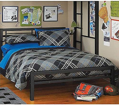 Black Full Size Metal Bed Platform Frame, Great Addition to any Kids or Boys Bedroom Set. Nice Bedroom Furniture. ON SALE NOW This Bedroom Beds Frames Headboard Can Be Used with A Loft or Bunk Bed. Use w Your Bedding Furniture