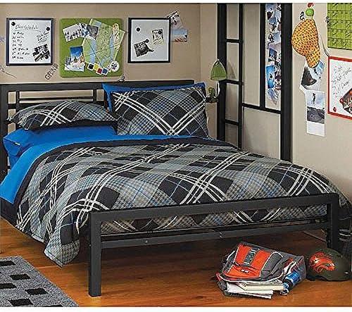 Black Full Size Metal Bed Platform Frame Great Addition To Any Kids Or Boys Bedroom Set