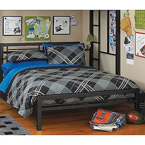 black full size metal bed platform frame great addition to any kids or boys bedroom set nice bedroom furniture on sale now this bedroom beds frames - Boys Bed Frame