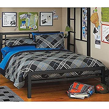 black full size metal bed platform frame great addition to any kids or boys bedroom - Used Bed Frames