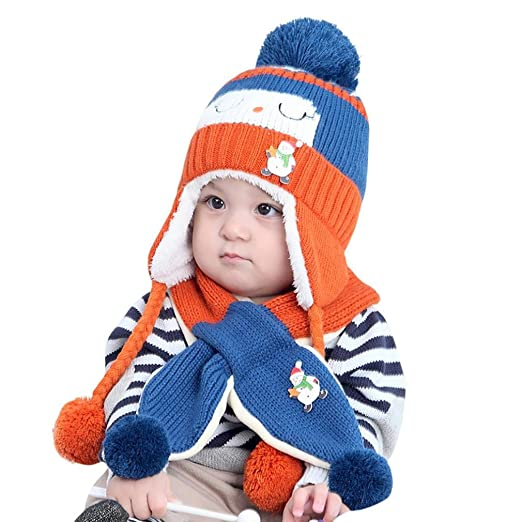 Hot Sale! Cute Toddler Baby Girls Boys Warm Knit Hat Earflap Pom Pom Beanie  Cap 0ec74464d675