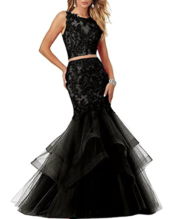 APXPF Beaded Mermaid 2 Piece Prom Dresses with Train Formal Gown Black US2