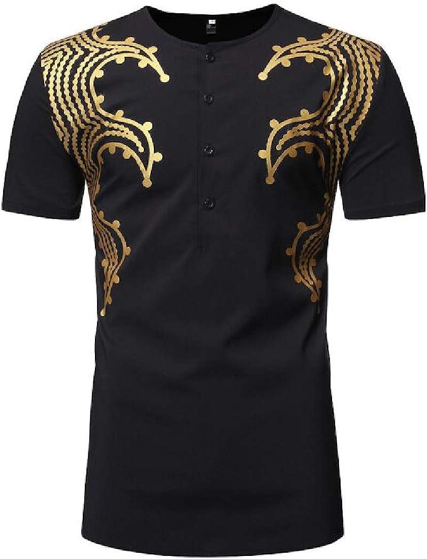 MMCP Mens Summer Short Sleeve African Print Fashion Casual Dress Work Shirt
