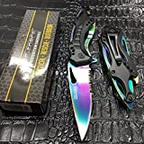 Tac-Force Spring Assisted Rainbow Blade Tactical Rescue Pocket Hunting Knife