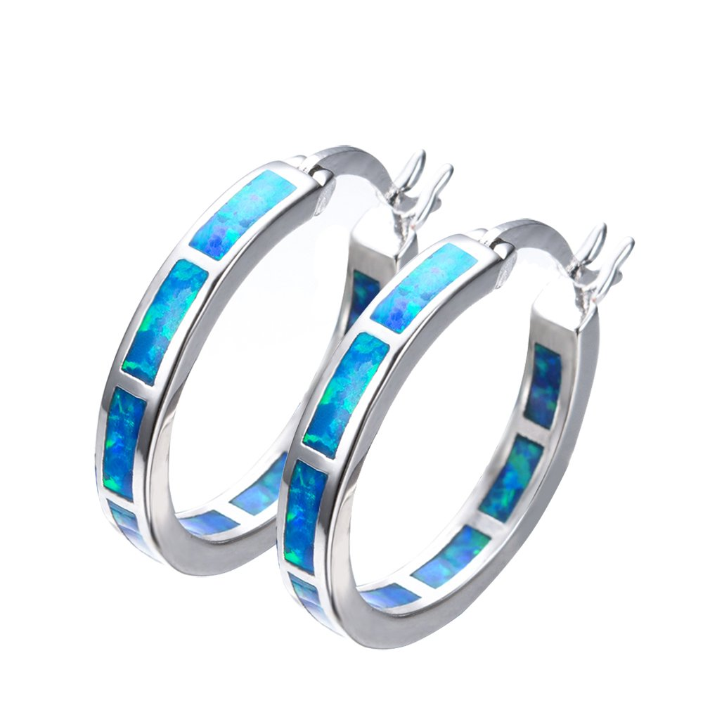 925 Sterling Silver Women's Hoop Earring,White and Blue Earring For You choose Perfect Match (Sterling Silver Blue Earring)