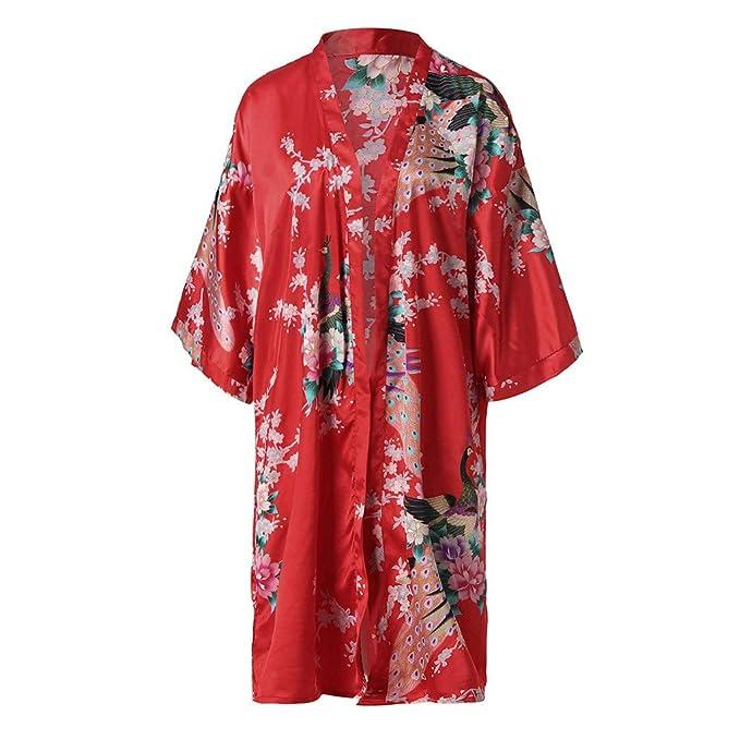 Internet_Pijama Casual Estampado de Mujer,Noble, Estilo Palacio,Kimono Batas Mujer,Cárdigan Largo de Seda,Diseño de Corbata