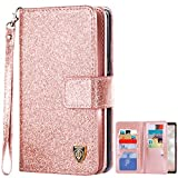 BENTOBEN Samsung Note 8 Case, Galaxy Note 8 Case Wallet Flip, Samsung Note8 Case Bling Glitter 9 Card Holder PU Leather Detachable Wrist Strap Wallet Phone Case Cover for Galaxy Note 8 Cute Rose Gold