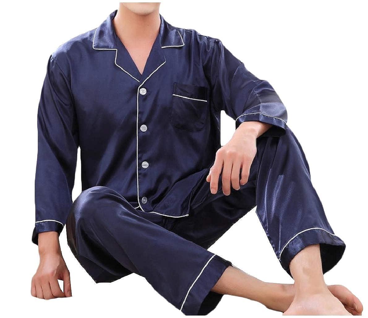 Winwinus Mens Comfy Slim Long Sleeve Charmeuse Pajama Sleepwear Set