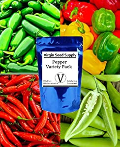 Virgin Seed Supply Pepper Seed Variety Pack Cayenne, Sweet Banana, Jalapeño, Yolo Wonder Varieties -Non-GMO Organic Heirlooom- 180 Seeds