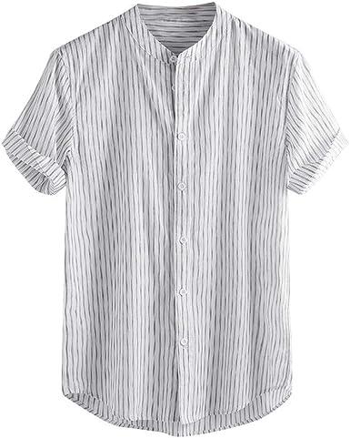 Camisa Vintage de Manga Corta con Botones para Hombre, Estilo Retro, de Lino Macizo - Blanco - X-Large: Amazon.es: Ropa y accesorios