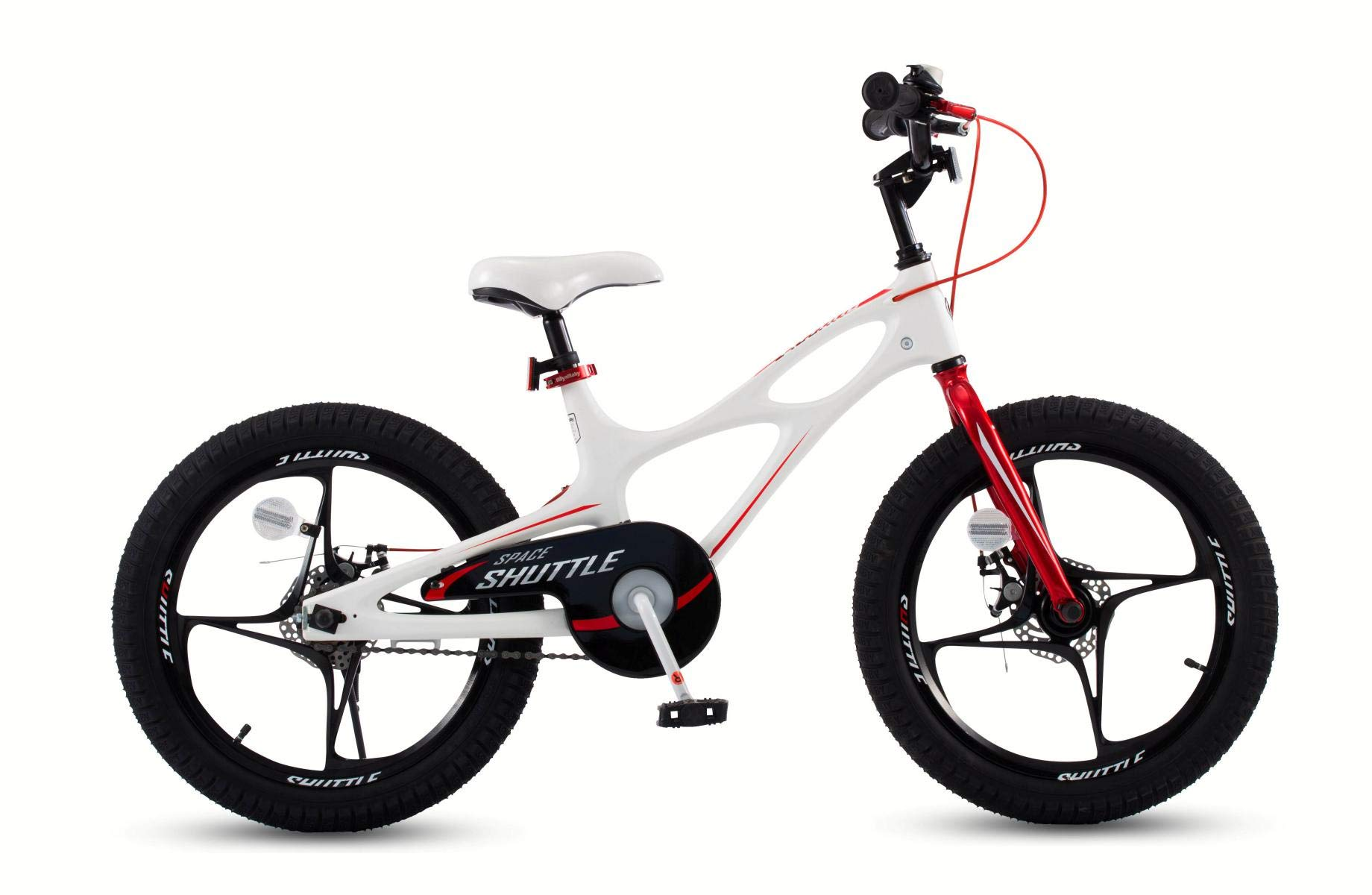 Royalbaby Space Shuttle Lightweight Magnesium Kid's Bike with Disc Brakes for Boys and Girls, 18 inch with Kickstand, White