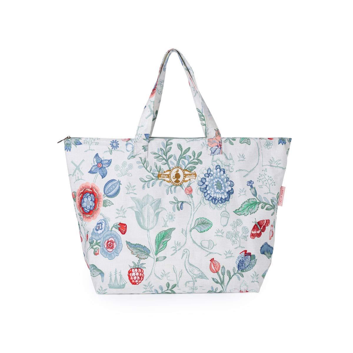 PiP Studio Beach Bag Spring to Life Petit Weiß Strandtasche Blumen Blüten Strand