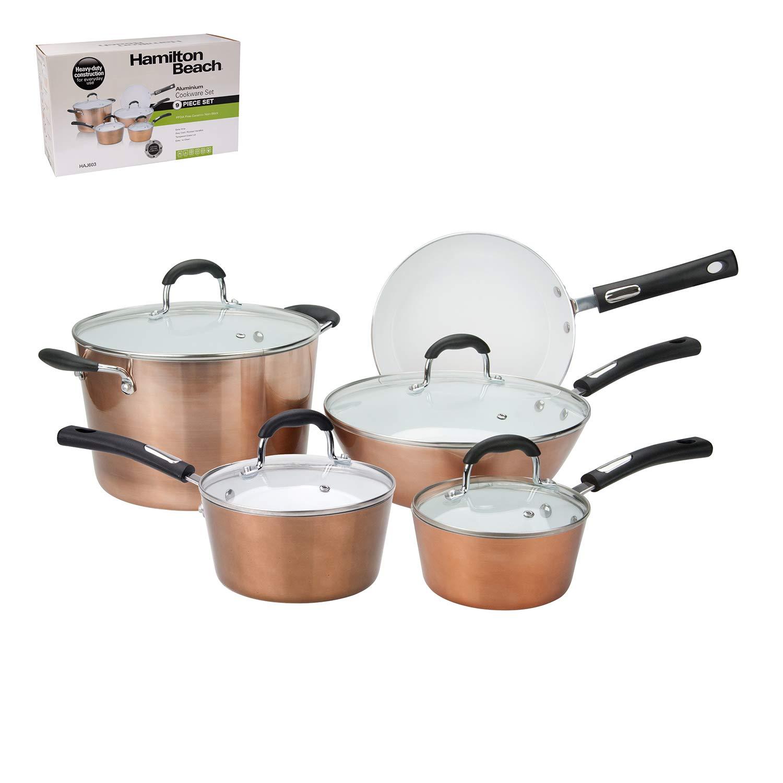 12/Piece Granite Cooking Pan Set BERLINGER House Metallic Rose Gold Bra 1696