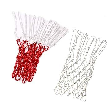 LIOOBO Nylon Trenzado Regular 12 Loops Red de Baloncesto ...