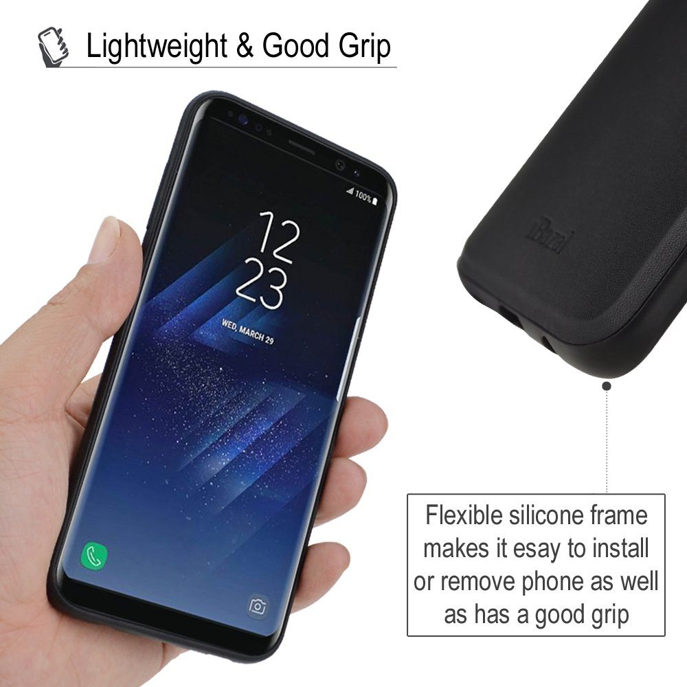 Galaxy S8 Plus Case, iBazal Card Holder Bumper Case with Carbon Fiber Design, PU Leather Back Cover Case for Samsung Galaxy S8 Plus / S8+ (2017) - Black