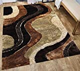 Home Shimmer Shag Gold Beige Brown Area Rug, Hand-Tufted, Hand Made ~5ft' x 7ft' ( Signature New 72 Brown ) Review