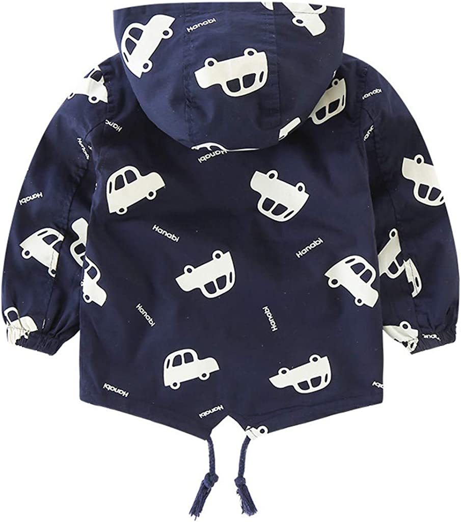 1-5Years Shan-S Boys Outwear,Toddler Kids Baby Boys Long-Sleeved Cartoon Car Print Hooded Warm Jacket Cotton Coat Winter Korean Version Outwear Tops