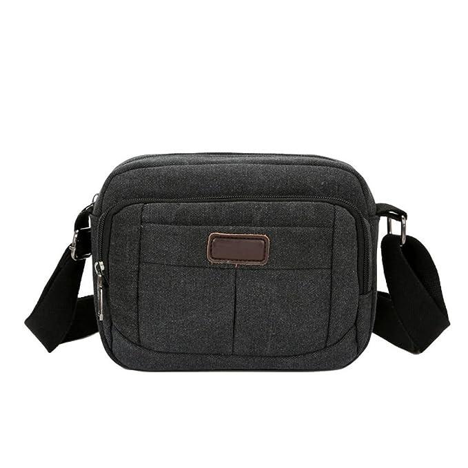Hombres Lienzo Ombro Omitir Paquete Casual Casual Computer Bag,Black-OneSize: Amazon.es: Ropa y accesorios