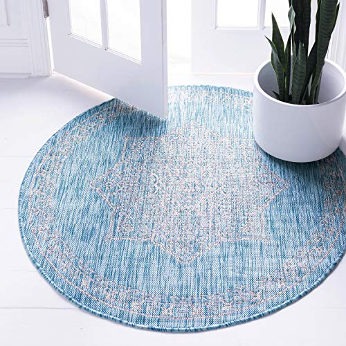 Unique Loom Outdoor Traditional Collection Classic Medallion Transitional Indoor and Outdoor Flatweave Light Aqua  Round Rug (4' 0 x 4' -