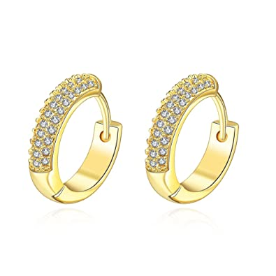 985ed34bd Amazon.com: 19MM 18K Rose Gold/Yellow Gold Plated Small Cute Cubic Zirconia  Hoops Earrings for Women Teen Girls Hypoallergenic CZ Studs For Sensitive  Ears ...