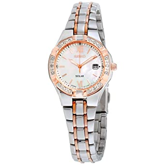 Seiko Diamond Mother Of Pearl Dial Stainless Steel Ladies Watch Sut146