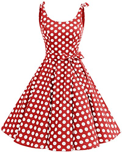 Bbonlinedress 1950's Bowknot Vintage Retro Polka Dot Rockabilly Swing Dress Red White BDot M -