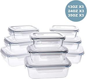 Kinlink Glass Food Storage Containers 18-Pieces with Lids, Glass Meal Prep Containers with BPA-Free Lids, 3 Different Sizes with Airtight Lock 13oz/410ml, 24oz/700ml, 35oz/1040ml