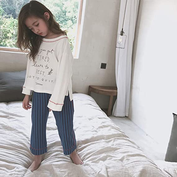 Conjunto De Pijamas Camisones Ropa De Dormir Ropa De Noche Chica Algodón Cuello Redondo Primavera Otoño Rayas Impresión Simple Dos Piezas Encantador,170cm: ...
