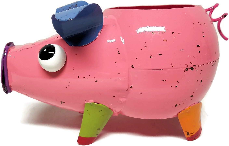 Colorful Metal Pig Planter (Pink)