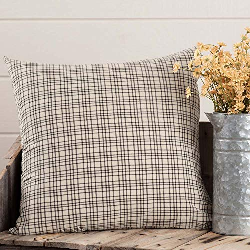 Piper Classics Plaid Pillow Cover, 20 x 20, Country Farmhouse Style Simple Black Plaid Throw Pillow