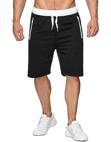 b339969982 Pantalones Cortos Deportivos para Hombre Deporte Correr y Entrenamiento Pantalones  Pantalón Fitness Corto Cremallera Tasch (