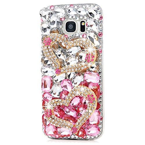 Maviss Diary Galaxy S7 Edge Case 3D Handmade Luxury Bling Crystal Double Golden Love Heart Shiny Diamonds Glitter Pink Rhinestone Clear Hard PC Case Full Edge Cover for Samsung Galaxy S7 Edge