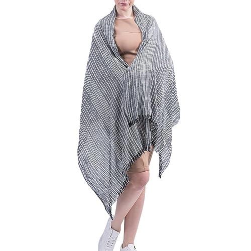 Zhhlaixing Stile di moda Cotton Linen Scarves Women Korean Autumn Winter Literary Style Wrinkled Str...