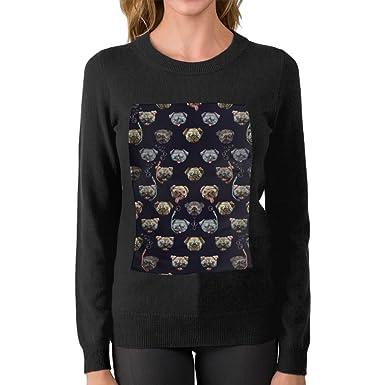 Amazon.com  Pug Diving Pattern Boyfriend Knit Sweater Warm First ... 1e7a071edd