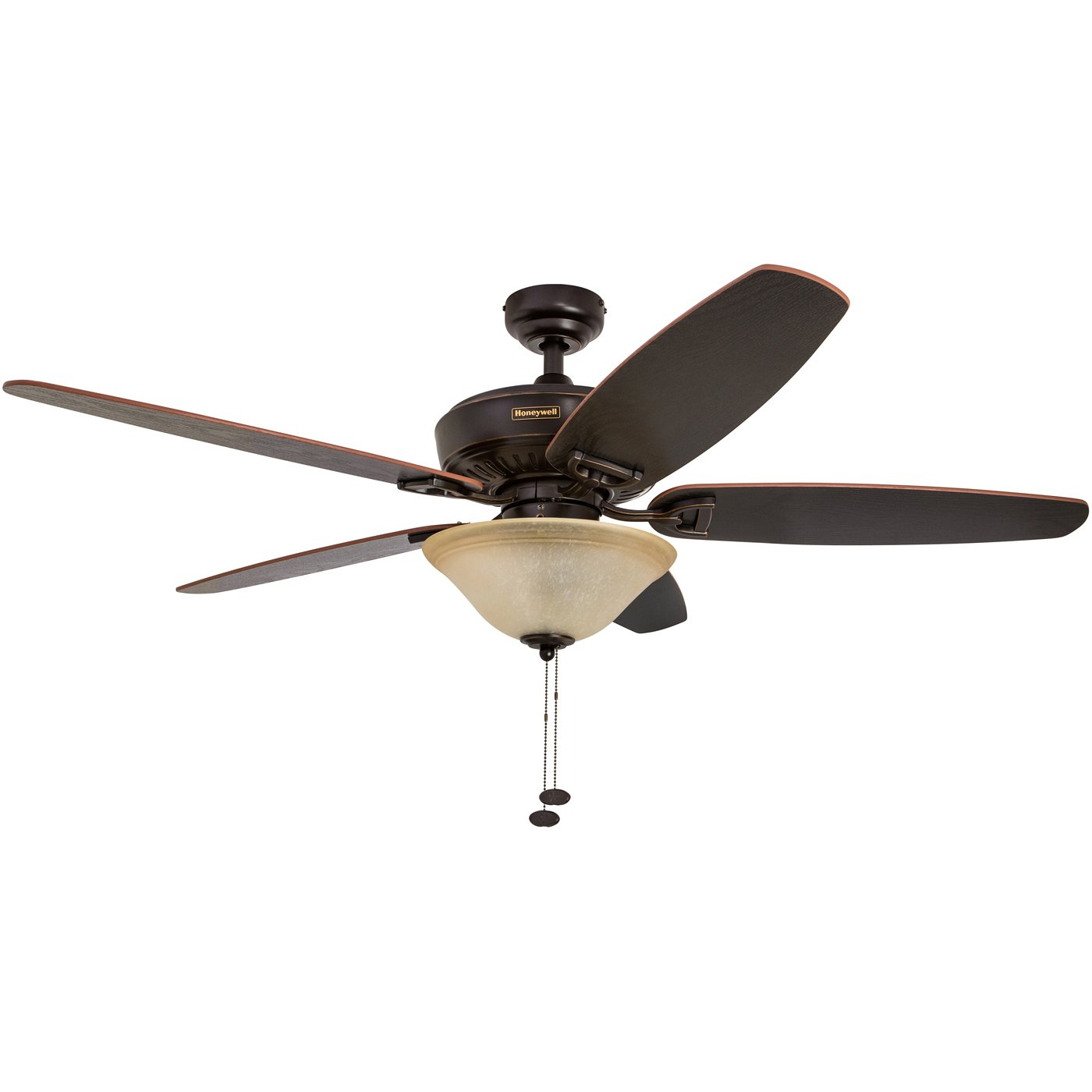Honeywell Belmar 52-Inch Ceiling Fan with Sunset Glass Light Kit, Five Reversible Cimarron/Burnt Oak Blades, Oil-Rubbed Bronze