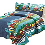 Brandream Kids Bedding Set Boys Train Vehicle Thin Comforter Set,twin,queen