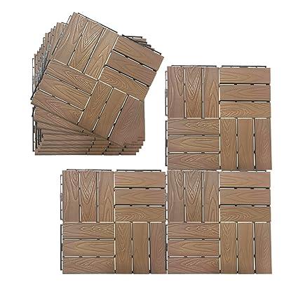 Interlocking Flooring Tiles Set Of 12, Patio Flooring Pavers In Coffee,  Composite Decking Flooring